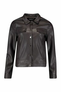 Womens Faux Leather Trucker Jacket - brown - S, Brown