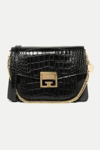 Givenchy - Gv3 Small Croc-effect Leather And Suede Shoulder Bag - Black