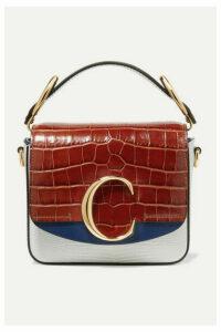Chloé - Chloé C Croc-effect And Lizard-effect Leather Shoulder Bag - Blue