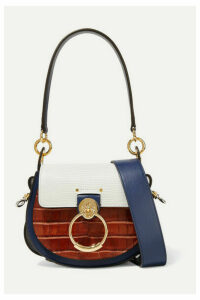 Chloé - Tess Small Croc-effect And Lizard-effect Leather Shoulder Bag - Blue