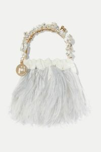 Rosantica - Diana Mini Embellished Feather-trimmed Velvet Tote - Ivory