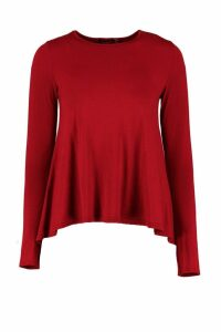 Womens Basic Long Sleeved Top - red - 6, Red