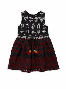 Little Girl's & Girl's Sleeveless Eyelet Dress