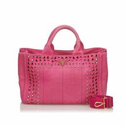 Prada Pink Canapa Canvas Satchel
