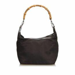 Gucci Brown Bamboo Nylon Handbag