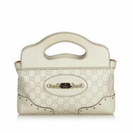 Gucci White Guccissima Leather Punch Handbag