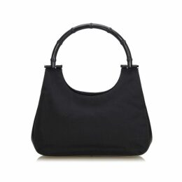 Gucci Black Bamboo Canvas Handbag