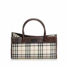 Burberry Brown Plaid Canvas Handbag