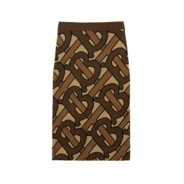 Burberry Monogram Intarsia Wool Pencil Skirt
