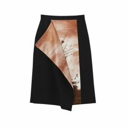 Burberry Ship Print Silk Panel Wool Pencil Skirt