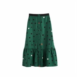 Chinti & Parker Green Painted Spot Silk-twill Skirt