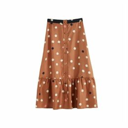 Chinti & Parker Ginger Painted Spot Silk-twill Skirt