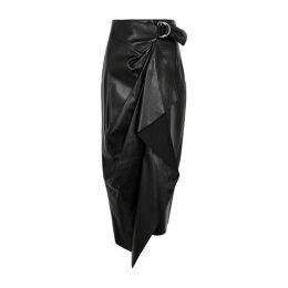Isabel Marant Fiova Black Draped Leather Midi Skirt