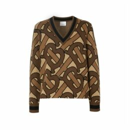 Burberry Monogram Intarsia Wool V-neck Sweater