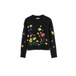 Chinti & Parker Black Charleston Embroidered Merino Wool Sweater