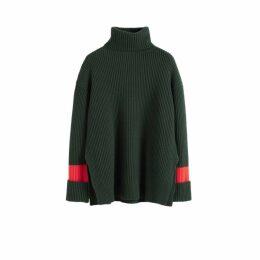Chinti & Parker Green Rib Merino Wool Rollneck Sweater