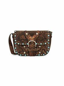 Tooled & Embellished Leather Shoulder Bag