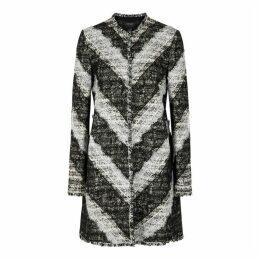 Giambattista Valli Monochrome Lace-trimmed Tweed Coat