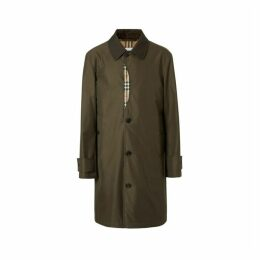 Burberry Vintage Check Detail Cotton Gabardine Car Coat