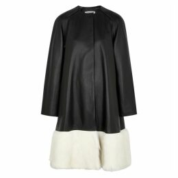 Loewe Black Shearling-trimmed Leather Coat