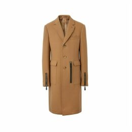 Burberry Zip Detail Wool Tailored Coat