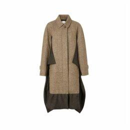 Burberry Scarf Detail Wool Mohair Tweed Car Coat