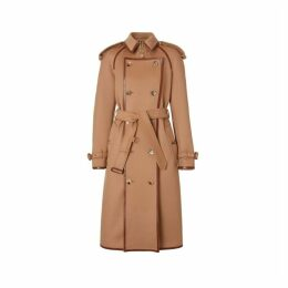 Burberry Button Panel Detail Wool Cashmere Trench Coat