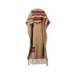 Burberry Striped Wool Cashmere Blend Cape