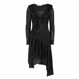 Philosophy Di Lorenzo Serafini Black Textured Tinsel-finish Dress