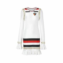 Burberry Ring-pierced Striped Stretch Jersey Mini Dress