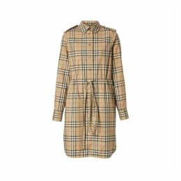 Burberry Vintage Check Stretch Cotton Drawcord Shirt Dress