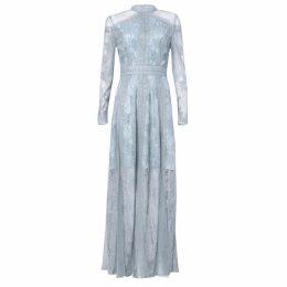 True Decadence True Decadence Ice Blue Lace Long Sleeved Maxi Dress