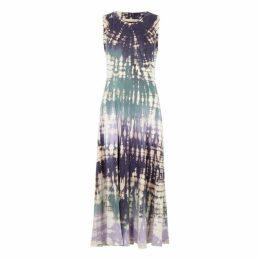 RAQUEL ALLEGRA Purple Tie-dye Cotton Midi Dress