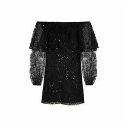 ROTATE Birger Christensen Number 30 Embellished Off-the-shoulder Mini Dress