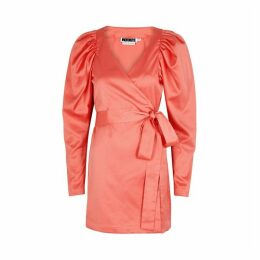 ROTATE Birger Christensen Number 31 Coral Satin Wrap Dress