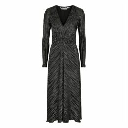ROTATE Birger Christensen Number 7 Metallic-weave Plissé Midi Dress