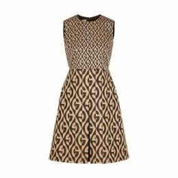 Gucci Brown Logo-jacquard Wool-blend Dress