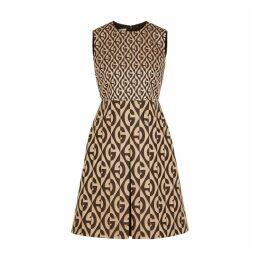 Gucci Brown Logo-jacquard Wool-blend Dress