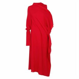 Roland Mouret Carmel Red Draped Asymmetric Midi Dress