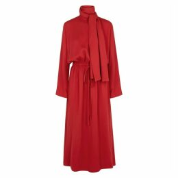 Valentino Red High-neck Midi Dress
