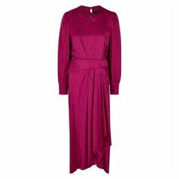 Isabel Marant Romina Fuchsia Jacquard Midi Dress