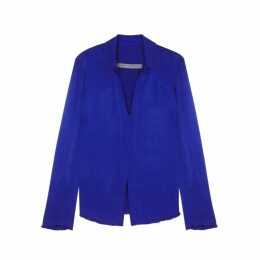 RAQUEL ALLEGRA Royal Blue Crepe Blouse