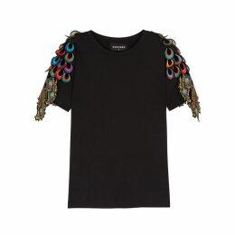 RAGYARD Peacock Feather-appliquéd Cotton T-shirt