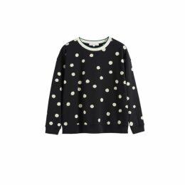 Chinti & Parker Black Painted Spot Cotton Sweatshirt