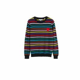 Chinti & Parker Multicolour Striped Heart Cashmere Sweater