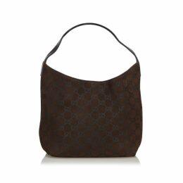 Gucci Black Gg Suede Shoulder Bag