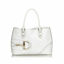 Gucci White Leather Hasler Tote Bag