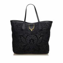 Gucci Black Suede Brocade Stirrup Tote Bag