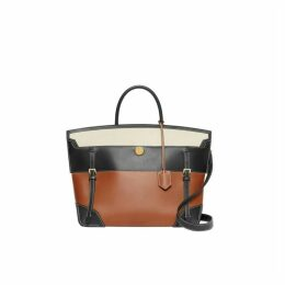Burberry Tri-tone Leather And Canvas Society Top Handle Bag