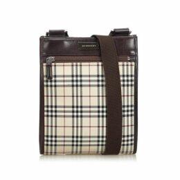 Burberry Brown Plaid Canvas Crossbody Bag
